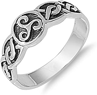 Triskelion Spirals Celtic Knot Sterling Silver Womens Ring Sizes 4-11