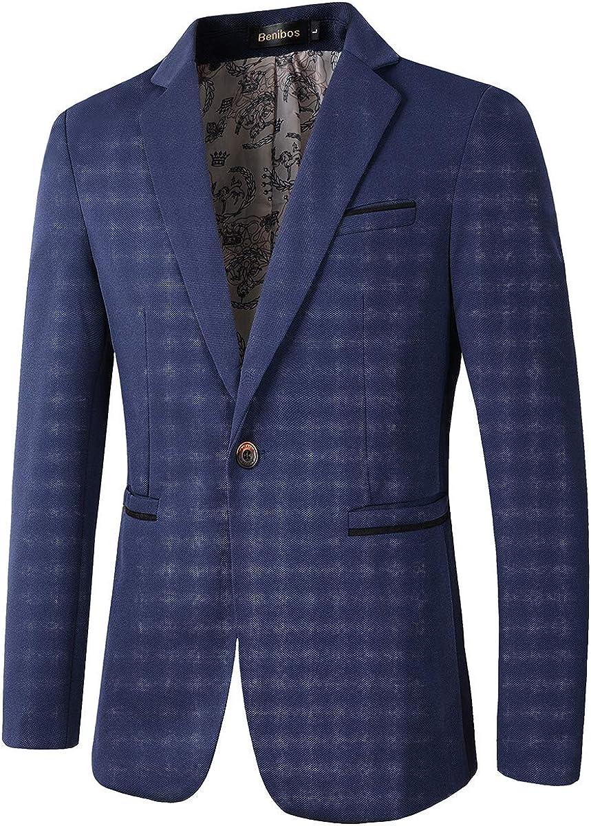 Beninos Men's Slim Fit Casual 1 Coat Blazer Sport Price reduction Button Jacket Popular products