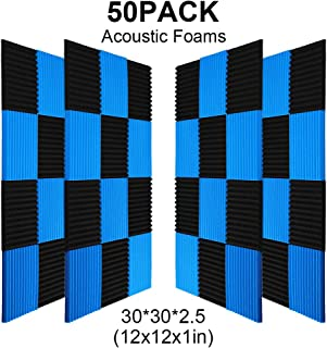 50 Pack All -Black/Blue Acoustic Panels Studio Foam Wedges 1