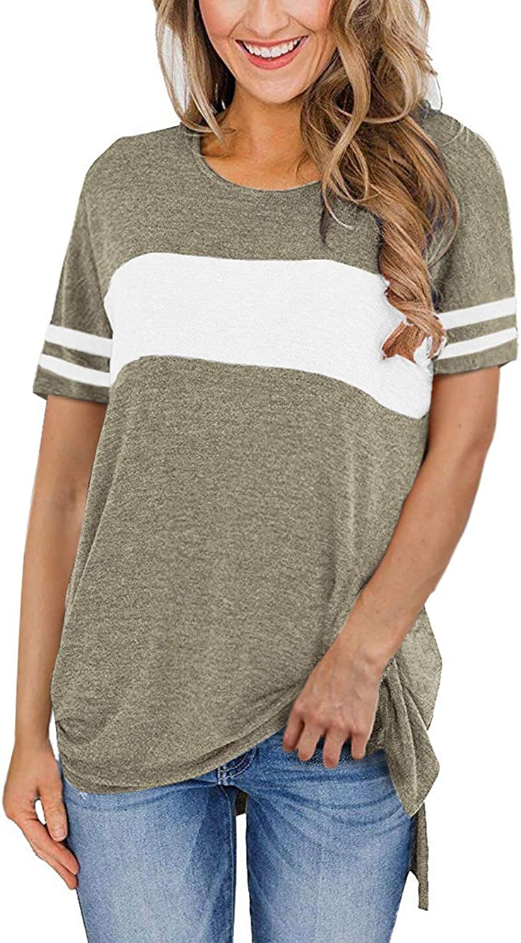 Women's Color Block StripedLong Sleeve Shirt Side Split High Low Hem Casual Pullover Tunic Tops
