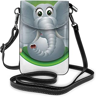 Women Small Cell Phone Purse Crossbody,Humorous Elephant African Mammal Animal Nature Zoo Safari Wildlife Oval Background
