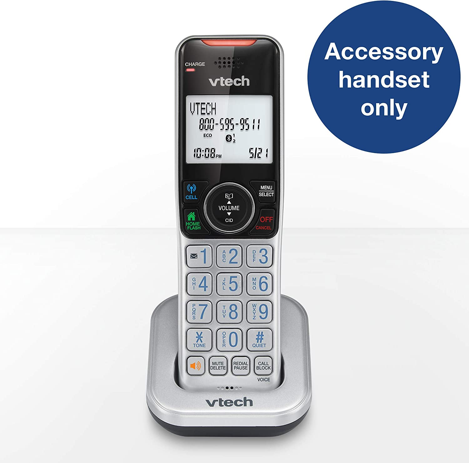 Silver /& Black VTech Accessory Handset with Bluetooth Connect to Cell and Smart Call Blocker VS112-0