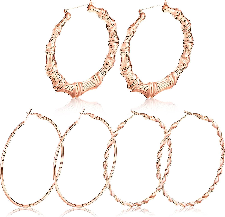 3 Pairs Large Bamboo Hoop Earrings Big Hoop Earrings and Twist Round Hoop Earrings Oversized Metal Hoop Earrings for Women Girls Jewelry Party Accessories