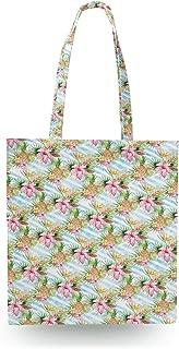 Aloha Pineapple Stripes Canvas Tote Bag - Zipper Canvas Tote Bag