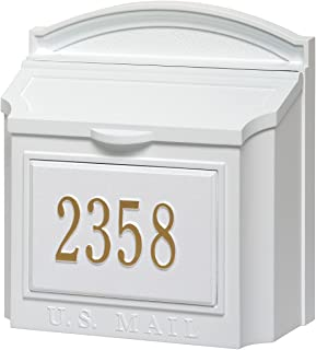 Whitehall Custom Wall Mount Mailbox Package - House Number and Street Name - Sand Cast Aluminum - White Personalized in Goldtone