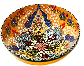 Turkish Ceramics~Hand Painted Ceramic Bowl-5 inch-Yellow