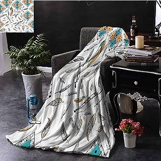 EDZEL Throw Blanket Boho Tribal Bohemian Feather Sofa Chair 60x40 Inch