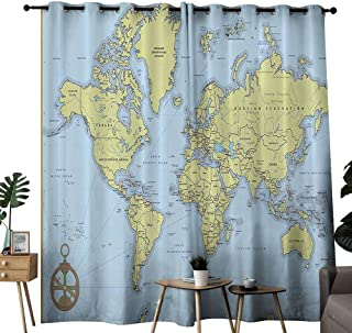 Sliding Curtains High School Classroom Decor Political World Map with Capitals and Rivers Light Blocking Drapes with Liner W96 xL72
