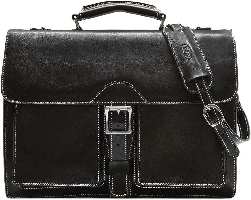 Floto Novella Roller Buckle Briefcase Messenger Bag in Full Grain Leather