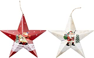 Juvale Christmas Wall Ornament - 2-Pack Large Hanging Star Shaped Metal Decoration with String, Santa Claus and Snowman Rustic Design, Indoor Outdoor Decor, Red and White, 12 x 16.5 x 2 Inches