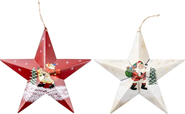 Juvale Christmas Wall Ornament 2 Pack Large Hanging Star Shaped Metal Decoration With String Santa Claus And Snowman Rustic Design Indoor Outdoor Decor Red And White 12 X 16 5 X 2 Inches