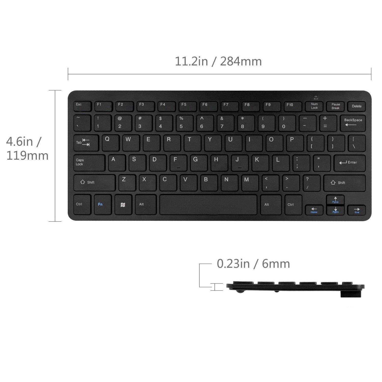 Mini Teclado inalámbrico Negro y ratón de fácil Control para Toshiba 24D3753DB 24