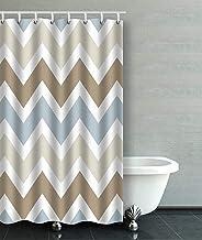 IrYuee Custom Smoky Blue Gray,Tan Brown Chevron Pattern Shower Curtain 48x72 inches