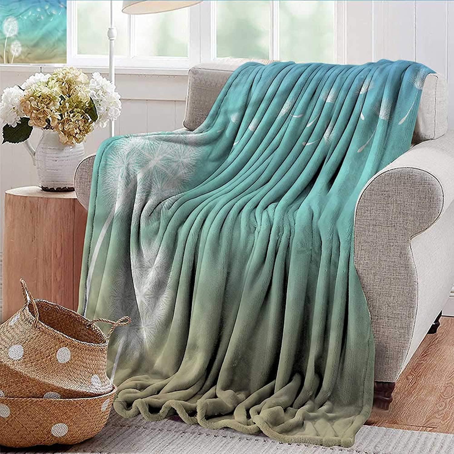 Xaviera Doherty Weighted Blanket for Kids Dandelion,Blowball on Wind Soft Summer Cooling Lightweight Bed Blanket 50 x60