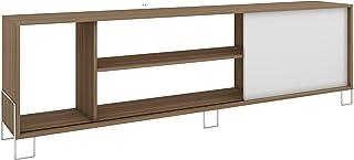 طاولة حمل شاشة تلفاز قياس 50 بوصة مع ثلاثة رفوف مفتوحة وخزانة من بي ار في موفيز - بلون بني، مقاس 56×180×29.4 سم