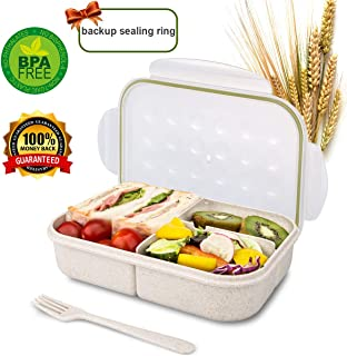 Bento Box for Kids Lunch Box Lunch Container for Adults, Leak Proof Bento Lunch Container, BPA Free Kids Bento Box, Portion Control Containers, Wheat Fiber Safe Healthy