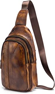 Le'aokuu Mens Outdoor Casual Tea Travel Hiking Crossbody Chest Sling Bag Rig One Shoulder Strap Bag Backpack Men Leather (X 010 Gold)