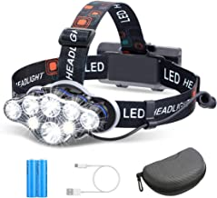 Headlamp, OUTERDO 8 LED Headlamp Rechargeable Headlight Flashlight with USB Cable 2 Batteries, 8 Modes Waterproof Head Lam...