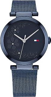 ساعة من تومي هيلفجر للنساء بمينا ازرق وسوار ستانلس ستيل ازرق مطلي طلاء ايوني - 1782239