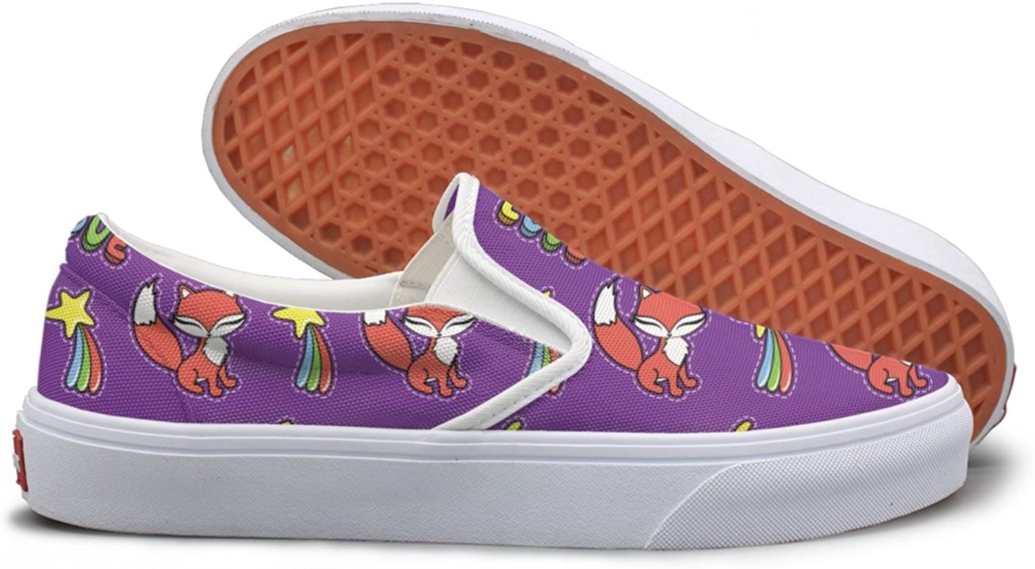 Kawaii Fox And Other Stickers Canvas Slip On shoes For Women