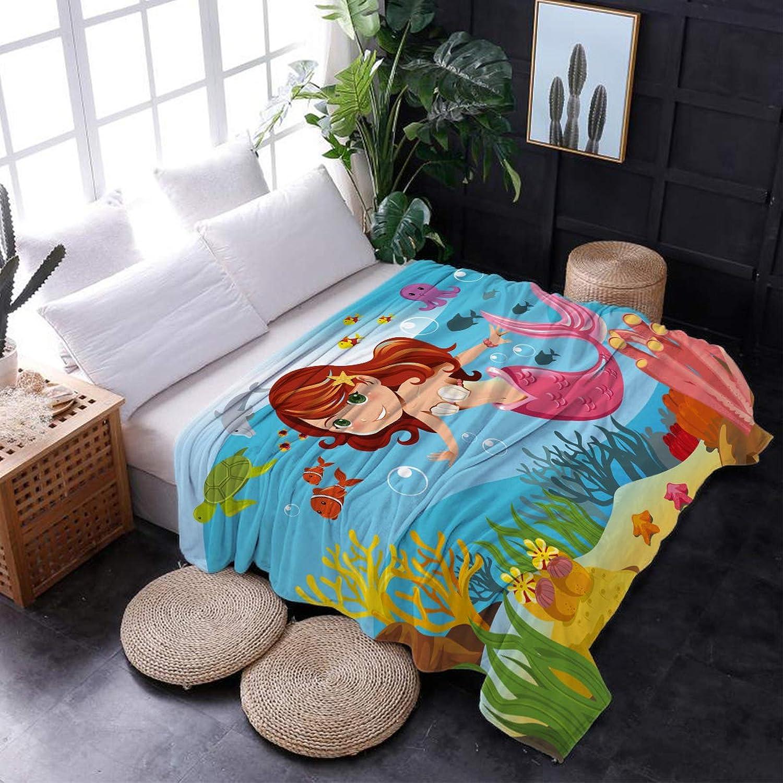 KAROLA Luxury Microfiber Throw Blanket Lightweight Couch Bed Sofa Chair Flannel Fleece Blanket Super Soft Warm & Cozy,Mermaid Fairy Tale Girls and Fish in Ocean (50 x 80 Inches)