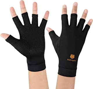 FitsT4 Arthritis Compression Gloves for Men and Women Fingerless Compression Gloves Work for Carpal Tunnel, Computer Typing, and Everyday Support for Hands (1 Pair)