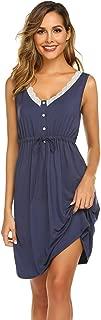 Ekouaer Women's Maternity Dress Nursing Nightgown for Breastfeeding Lace Nightshirt Sleepwear S-XXL