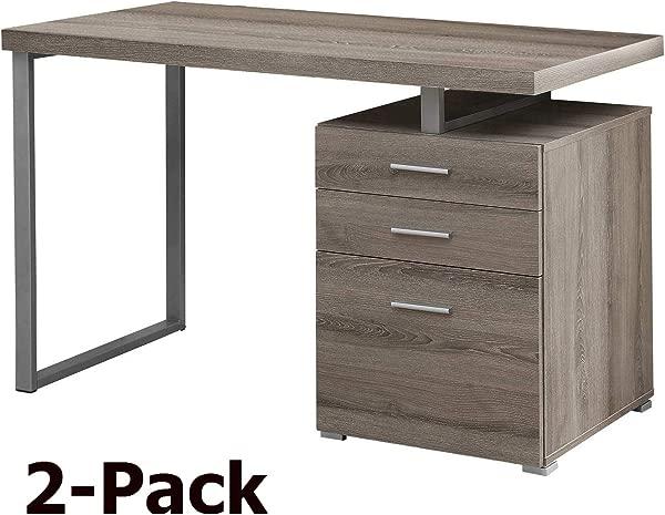 Monarch Specialties Reclaimed Look Left Right Facing Desk Dark Taupe 2 Pack