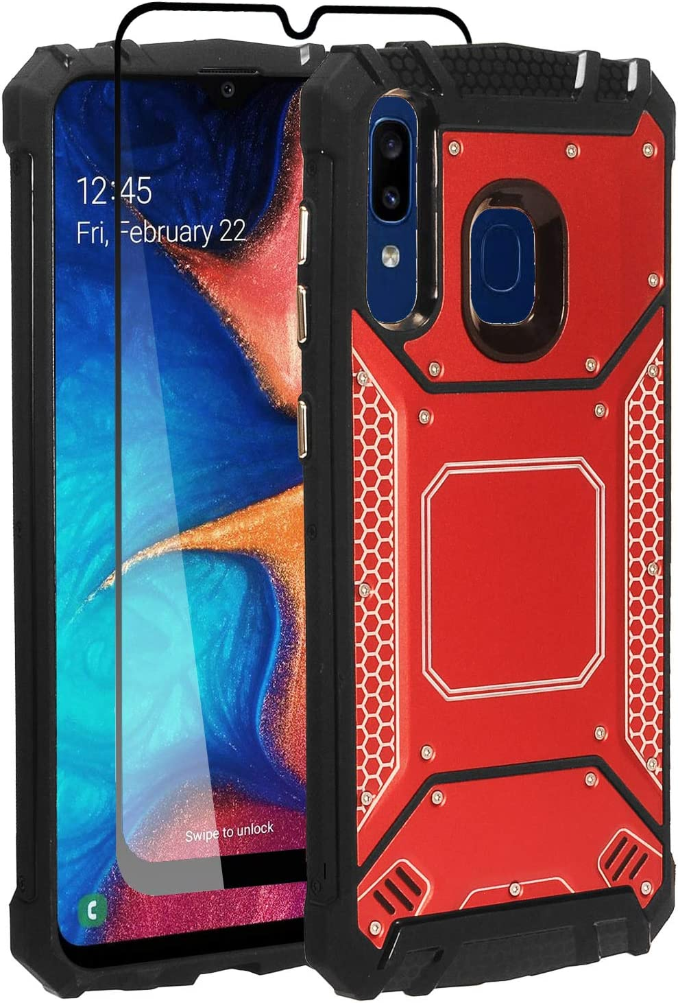 Compatible with Samsung Galaxy A20, Galaxy A50 - Aluminum Metal Hybrid Phone Case + Tempered Glass Screen Protector - ZY1 Red