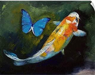 CANVAS ON DEMAND Kujaku Koi and Butterfly Wall Peel Art Print, 24