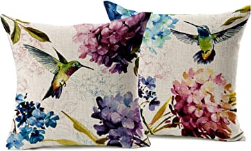WOMHOPE 2 Pcs - 18 Vintage Tree and Flower Birds Printing Cotton Linen Throw Covers Throw Covers Square Throw Pillow Covers Cushion Cover Pillowcase (Hummingbird All (Set of 2))