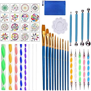 GOTONE 45 PCS Mandala Dotting Tools Set, Stencil Painting Brushes Ball Stylus Paint Tray for Painting Rocks Drawing & Draf...
