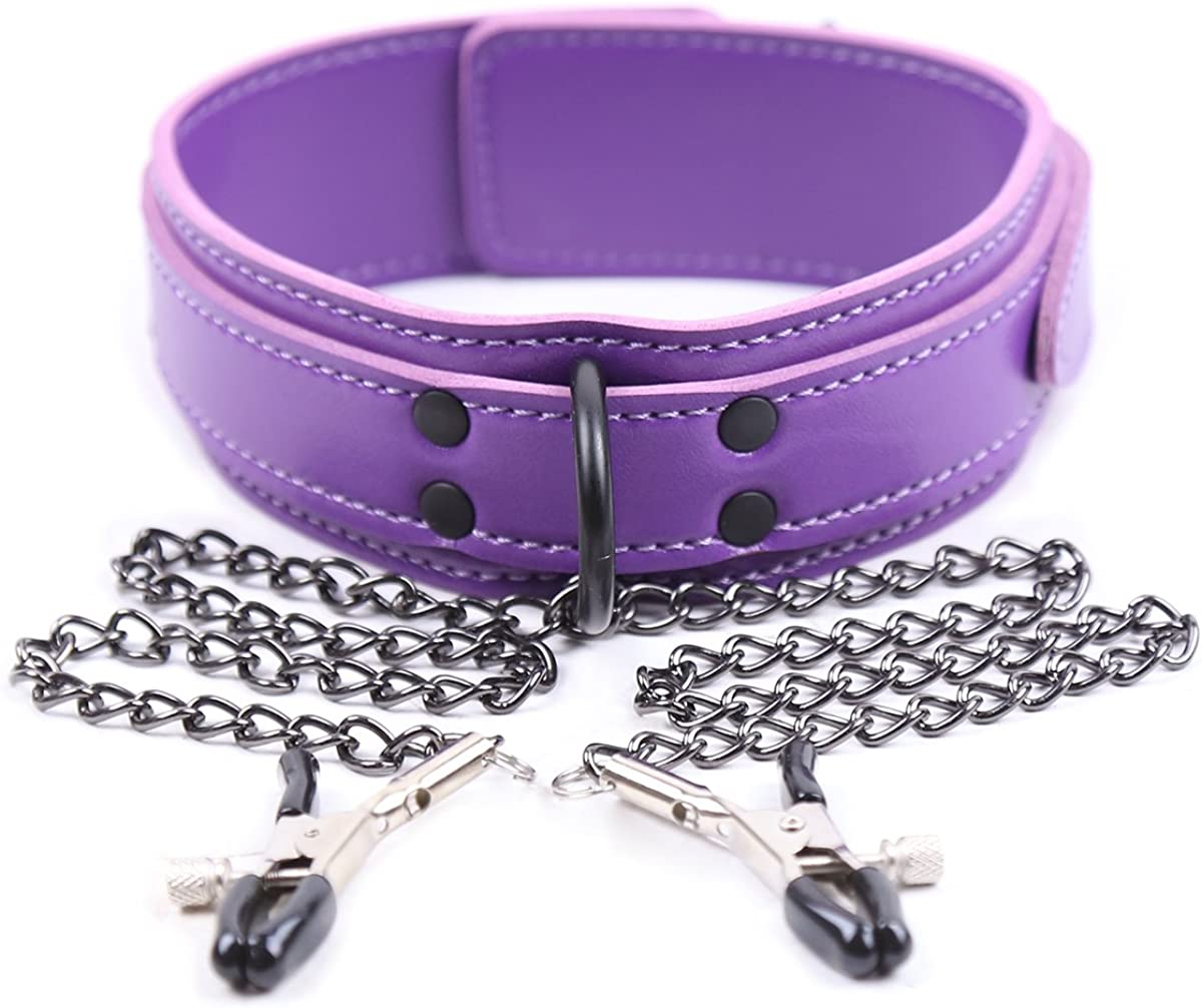 Purple Leather Necklace Choker Collar for Women Nipple Clamps Si