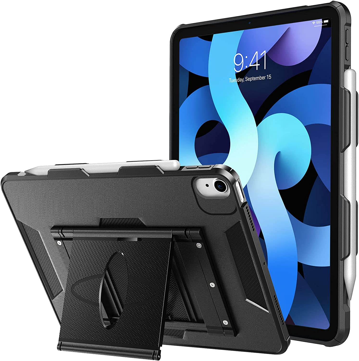 TiMOVO Case for New iPad Air 4th Generation, iPad Air 4 Case (10.9-inch, 2020), Multi-Angle Viewing Stand Swivel Case, Full-Body Shockproof Protective Cover with Pencil Holder Fit iPad 10.9