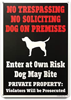 Sorfeo Signs - Beware of Dog Sign, No Trespassing Sign, No Soliciting Sign with Legal Notice Language - Made in USA - Weat...