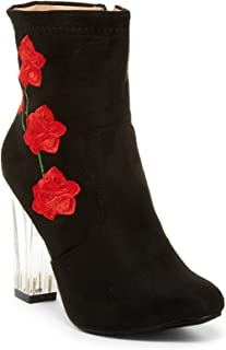 Women's Designer Floral Print Clear Lucite Block Heel Tall Ankle Boots