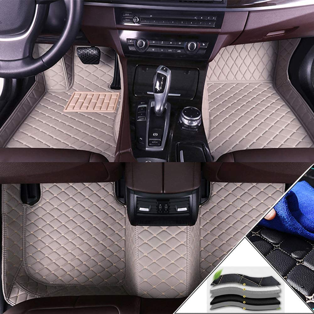 Alfombrillas en Velour para BMW 1 Series Hatchback 2-Door F20 F21 E81 E82 E87 E88 116i 118i 125i M135i M140i 2007-2011 Alfombrillas de Coche Moqueta para Coche Beige