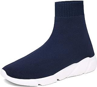 942c2034c72de NEWCOLOR Mode Unisexe Slip-on Haute Coupe Marche Formateurs Confort Couple  Mocassins Chaussures Tricot Gym