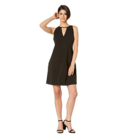 Sam Edelman Crepe V-Neck Shift Dress (Black) Women