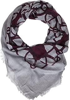 Grey Bordeaux Wool Blend Horsebit Print Square Shawl Scarf