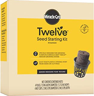 Miracle-Gro Twelve Seed Starting Kit, Includes 4 Seed Starting Plugs and 4 Net Cups (Seeds Not Included) - Designed for Growing Plants in Hydroponic Systems - Grow From Seeds or Cuttings