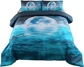Meeting Story Galaxy Moon Ocean with Lightning Print Comforter Set Queen Size,Soft Brushed Microfiber Bedding Sets Queen Blue