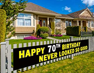 Colormoon Happy 70th Birthday Bunting Banner, 70th Birthday Party Decorations Supplies, Birthday Anniversary Sign (9.8 x 1.5 feet)