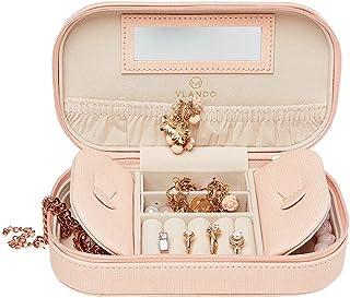 Vlando Small Travel Tassel Jewelry Box Organizer - Woman Girls Take-Out Handbags - Faux Leather Tassel Design (Pink)