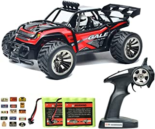 Speedi2 Electric RC Car Off Road 1:16 Scale RC Monster Truck 2.4GHz Radio Remote Control Car 2WD High Speed Rock Crawler 2 Rechargeable Battery 45 PCS Stickers (Red)