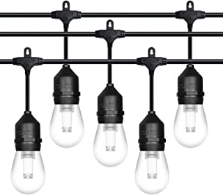 52ft LED Outdoor String Lights Commercial Grade Weatherproof - 18pack LED Bulbs Included - ETL Listed Heavy Duty - 18 Hanging Sockets - Perfect Patio Lights Bistro Market Cafe Lights