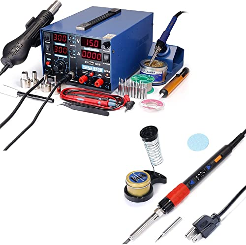 new arrival YIHUA 853D 2A USB Professional Soldering, Rework and 2021 Power Supply Station bundle with outlet sale YIHUA 928D-III High Power Soldering Iron as Secondary/Backup Iron Holder, Soldering Cleaning Kit, and Accessories outlet online sale