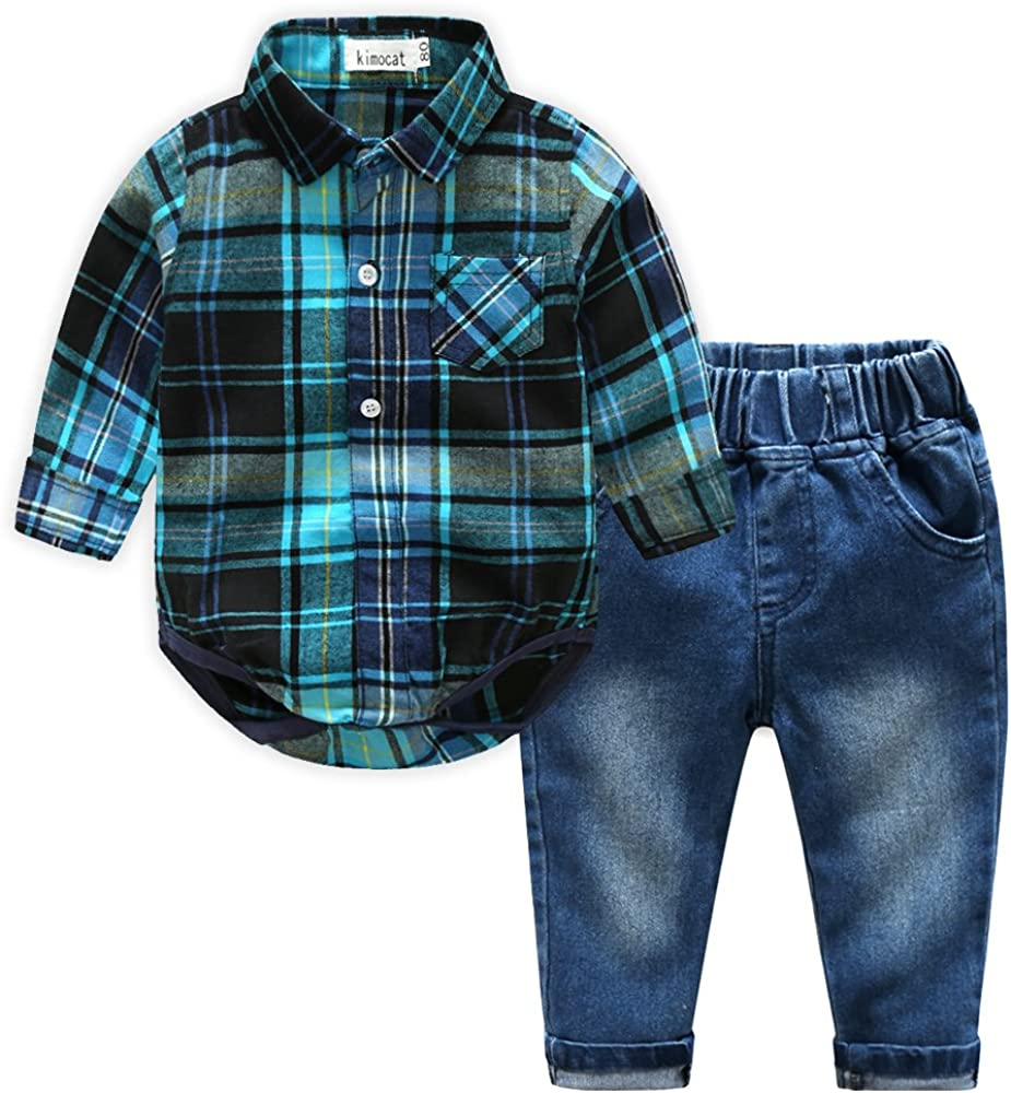 Kimocat Casual Suit for Toddler Boy 2Pcs Long Sleeve Plaid Shirt Onesies and Jeans Outfits