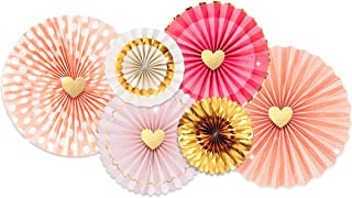 NICROLANDEE Pink and Gold Paper Fans, Princess Party Supplies Foil Hot-Stamp Hanging Paper Fans Decoration Set for Wedding Bridal Shower Engagement Girl Birthday Party Love Events Accessories Set of 6