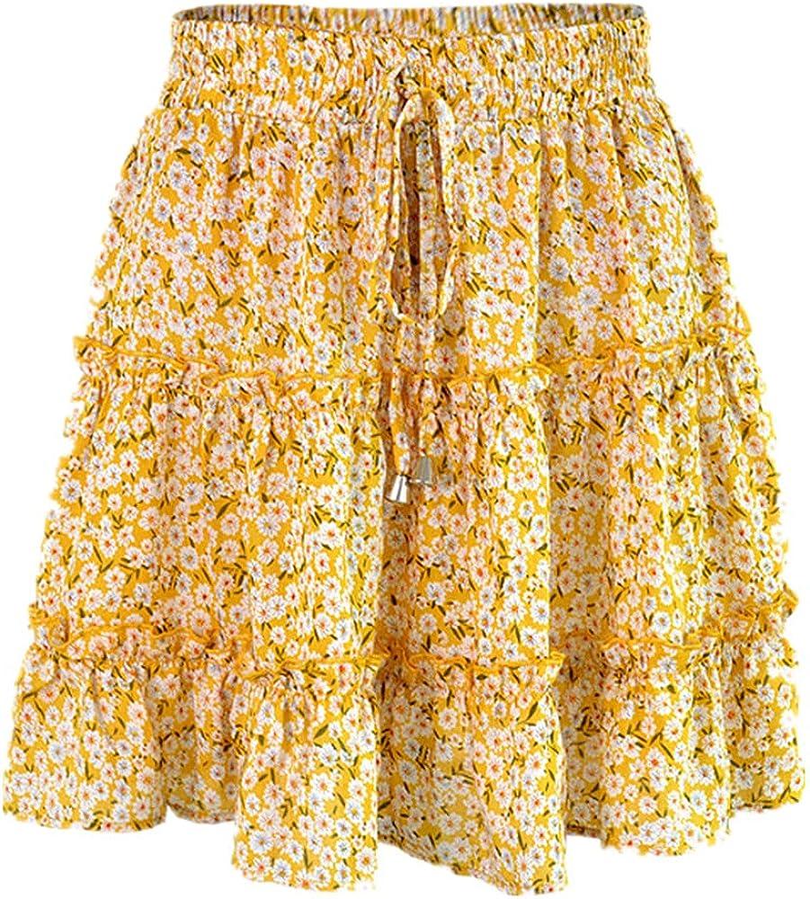 Women Skirts Floral Printed Aline Mini Skirts Cotton Ruffles Pleated Girls